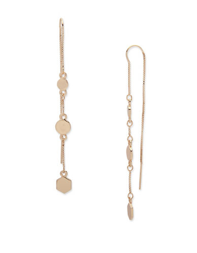 Ivanka Trump Disc Accent Pull-Through Earrings-GOLD-One Size