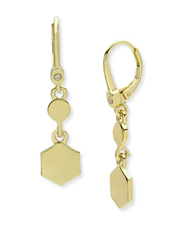 Ivanka Trump Hexagon Drop Earrings-GOLD-One Size