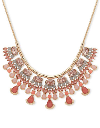 Ivanka Trump Faceted Stone Statement Necklace-RED-One Size