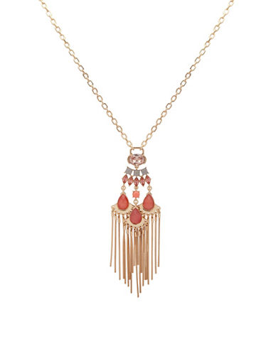 Ivanka Trump Fringe Pendant Long Necklace-RED-One Size