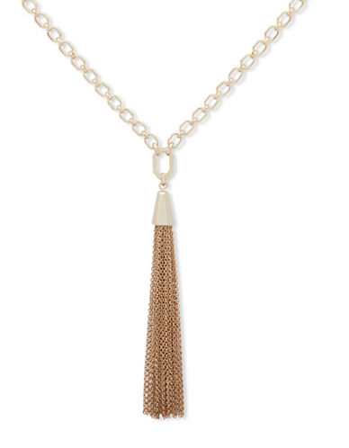 Ivanka Trump Tassel Chainlink Pendant Necklace-GOLD-One Size