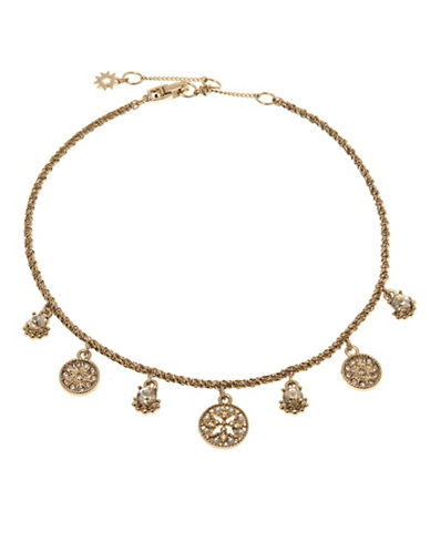 Marchesa Faux Pearl Coin Choker Necklace-GOLD-One Size
