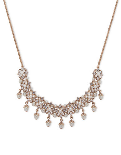 Marchesa Faux Pearl Frontal Necklace-GOLD-One Size