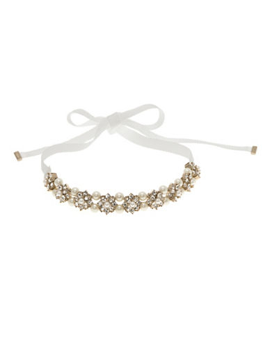 Marchesa Faux Pearl Ribbon Choker Necklace-GOLD-One Size