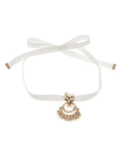 Marchesa Faux Pearl Choker Necklace-GOLD-One Size