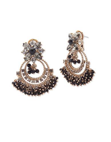 Marchesa Faux Pearl Chandelier Earrings-BLACK-One Size