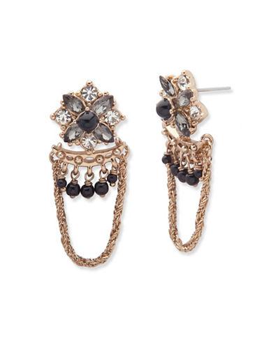 Marchesa Faux Pearl Chain Drop Earrings-BLACK-One Size