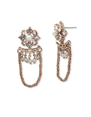 Marchesa Faux Pearl Chain Drop Earrings-GOLD-One Size