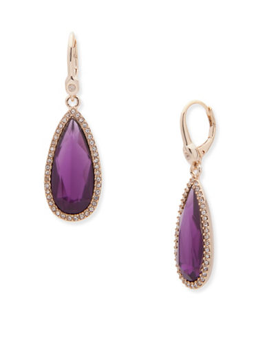 Ivanka Trump Crystal Drop Earrings-PURPLE-One Size