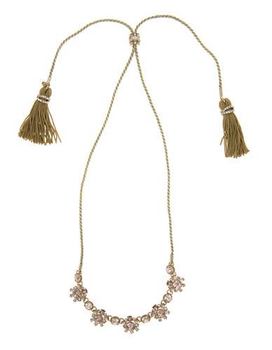 Marchesa Tassel Chain Swarovski Necklace-PINK-One Size