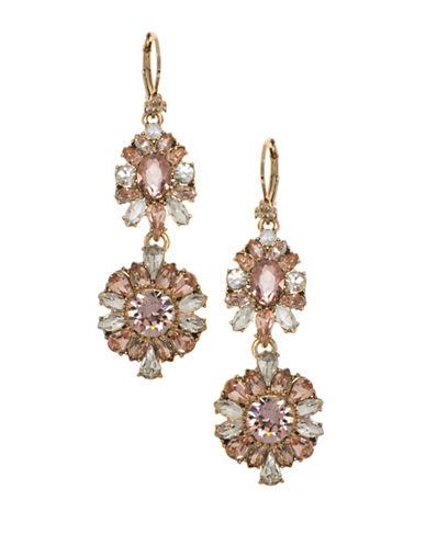 Marchesa Swarovski Double Drop Earrings-PINK-One Size