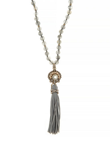 Marchesa Beaded Tassel Necklace-GREY-One Size
