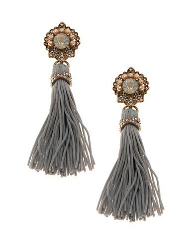Marchesa Beaded Tassel Drop Earrings-GREY-One Size