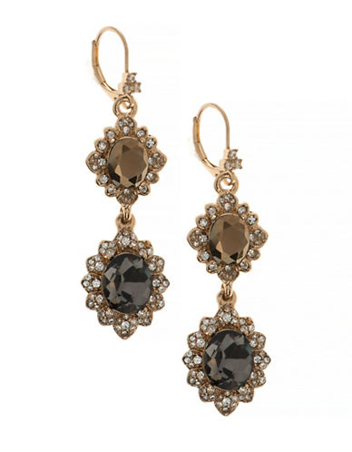 Marchesa Pave Double Drop Earrings-GREY-One Size