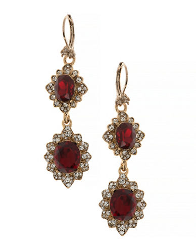 Marchesa Pave Double Drop Earrings-RED-One Size