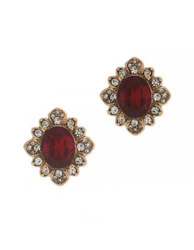 Marchesa Pave Button Earrings-RED-One Size