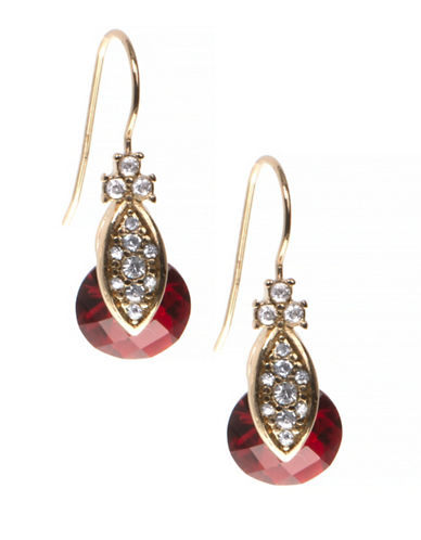 Marchesa Pave Drop Earrings-RED-One Size
