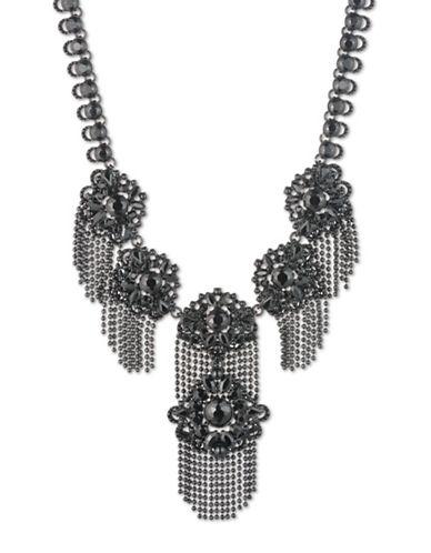 Marchesa Crystal Statement Necklace-BLACK-One Size