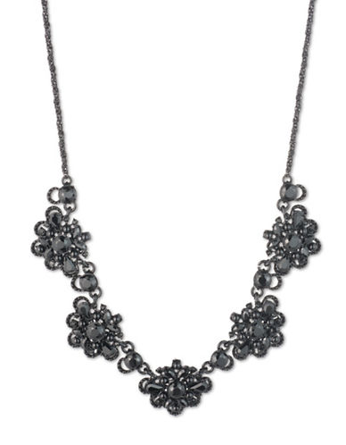 Marchesa Crystal Statement Necklace-BLACK-One Size
