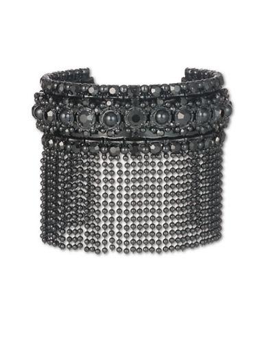 Marchesa Crystal Fringe Cuff Bracelet-BLACK-One Size