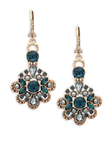 Marchesa Crystal Drop Earrings-BLUE-One Size