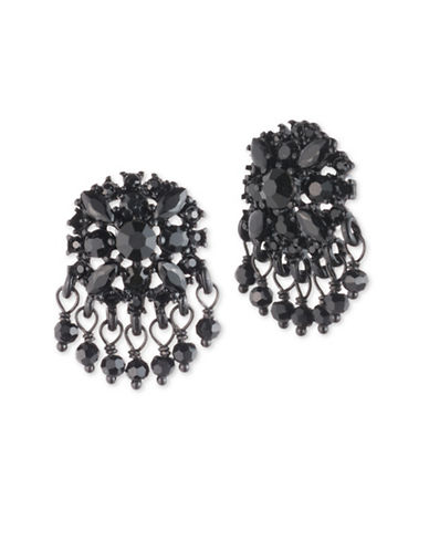 Marchesa Crystal Chandelier Earrings-BLACK-One Size