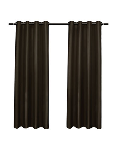 Home Outfitters Set of Two Shantung Curtain Panels-ESPRESSO-84 inches