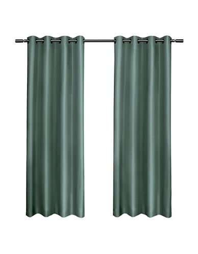 Home Outfitters Set of Two Shantung Curtain Panels-TEAL-84 inches
