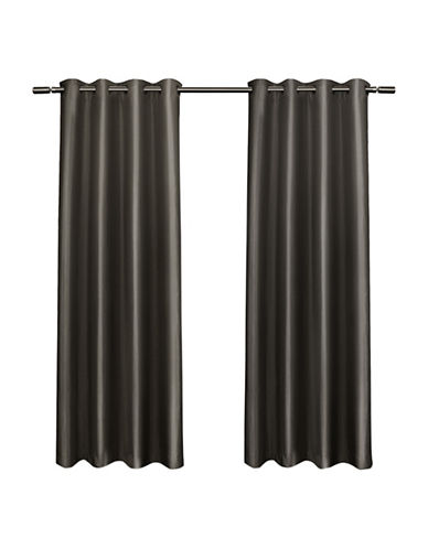 Home Outfitters Set of Two Shantung Curtain Panels-BLACK PEARL-84 inches