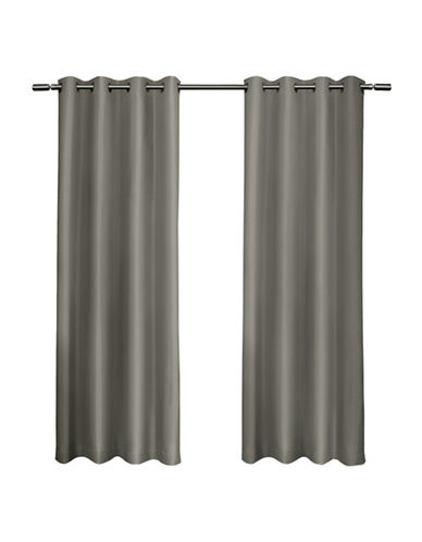 Home Outfitters Set of Two Shantung Curtain Panels-VIRIDIAN GREY-84 inches