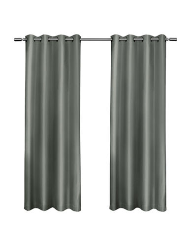 Home Outfitters Set of Two Shantung Curtain Panels-STEEL BLUE-84 inches