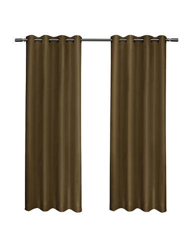 Home Outfitters Set of Two Shantung Curtain Panels-ALMOND-84 inches