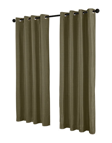 Home Outfitters Set of Two Shantung Curtain Panels-LIME-84 inches