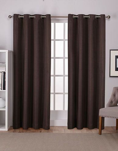 Home Outfitters Thermal Room Darkening Curtain Panel Pair-CHOCOLATE-84 inches