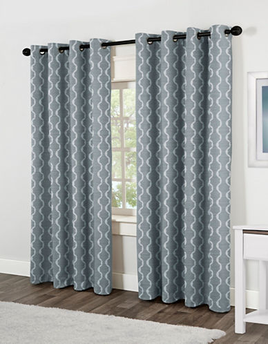 Home Outfitters Baroque Two-Pack Window Curtains-BLUE-84 inches