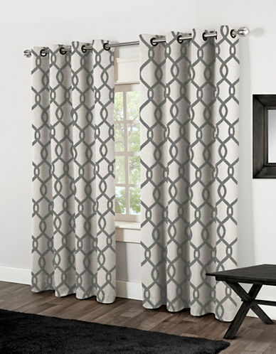 Home Outfitters Kochi Two-Pack Window Curtains-BLACK-One Size