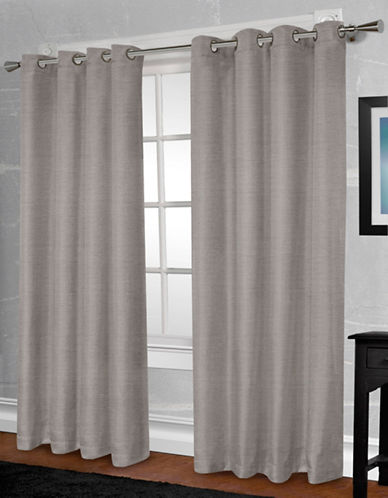 Home Outfitters Shantung Two-Pack Window Curtains-GREY-One Size