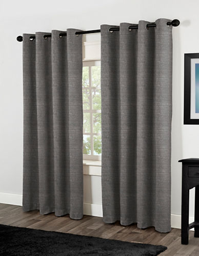 Home Outfitters Two-Pack Textural Foam-Backed Window Curtains-BLACK-One Size