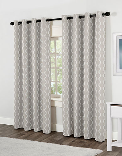 Home Outfitters Baroque Two-Pack Window Curtains-GREY-84 inches