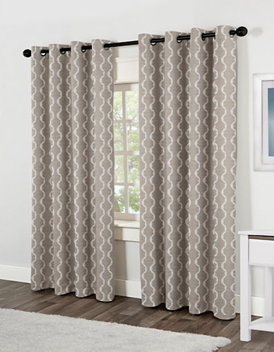 Home Outfitters Baroque Two-Pack Window Curtains-SILVER-96 inches