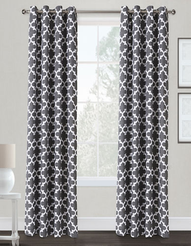 Home Outfitters Neptune Two-Pack Window Curtains-BLACK-84 inches