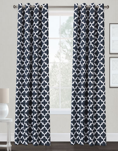 Home Outfitters Neptune Two-Pack Window Curtains-INDIGO-84 inches