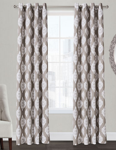 Home Outfitters Damask Two-Pack Window Curtains-TAUPE-84 inches