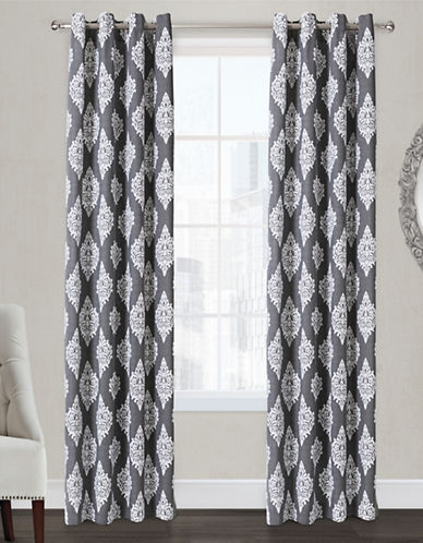 Home Outfitters Damask Two-Pack Window Curtains-BLACK-96 inches