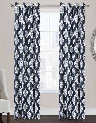 Home Outfitters Damask Two-Pack Window Curtains-INDIGO-96 inches