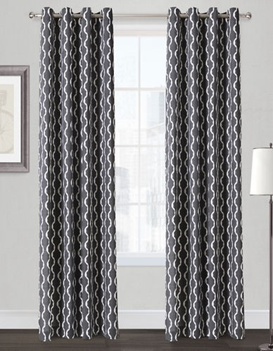 Home Outfitters Trellis Two-Pack Window Curtains-BLACK-84 inches
