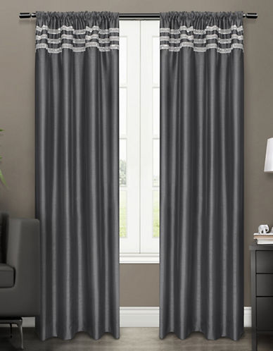 Home Outfitters Bling Two-Pack Window Curtains-BLACK-One Size