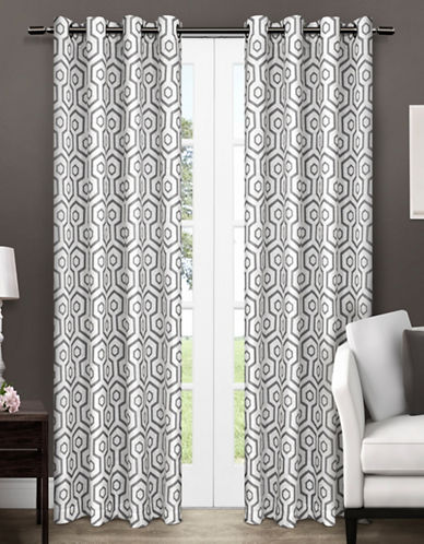 Home Outfitters Trike Two-Pack Window Curtains-BLACK-One Size