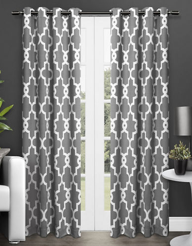 Home Outfitters Ironwork Two-Pack Window Curtains-CHARCOAL-One Size