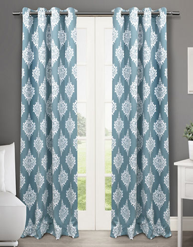 Home Outfitters Medallion Two-Pack Window Curtains-TEAL-One Size